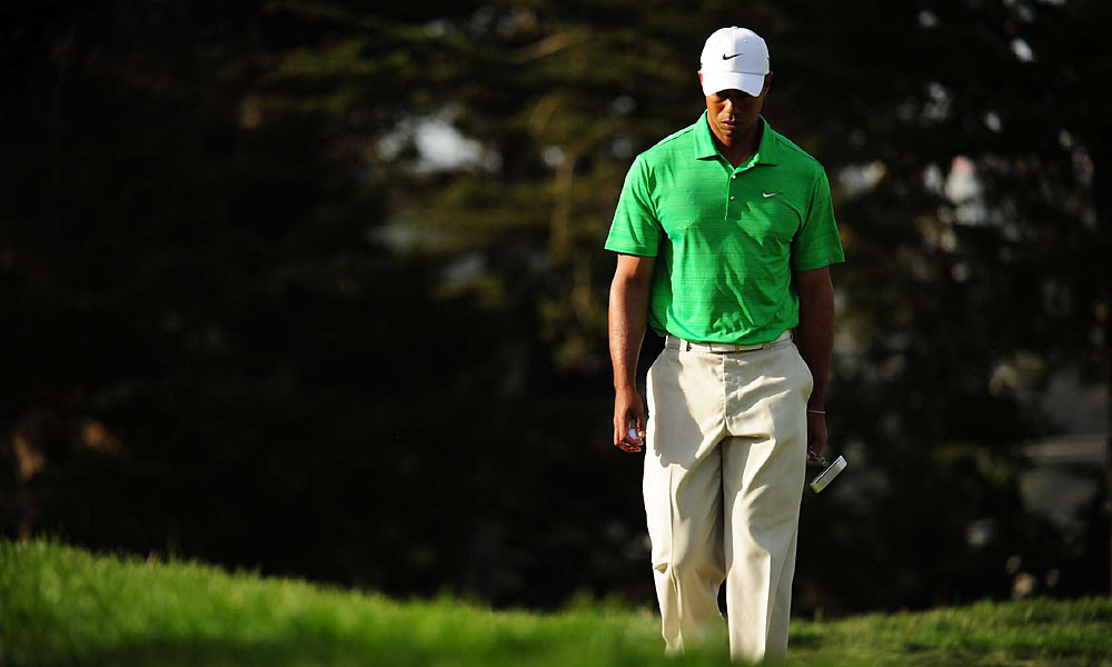 At four over, Woods trails co-leaders Furyk and McDowell by five shots.