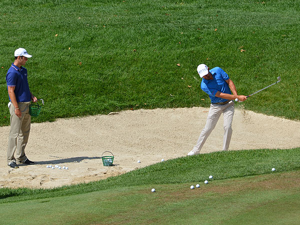 Padraig Harrington demonstrated to Kaymer the bunker game that helped him win three major championships.