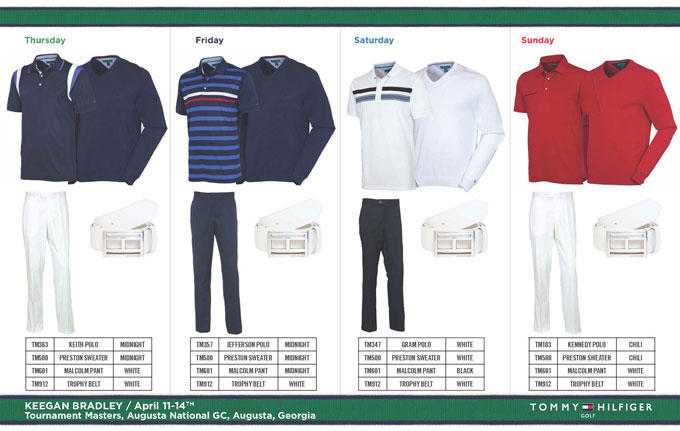 Keegan's tournament week gets a lot more colorful on Friday, and his final three looks are fantastic. I love the Tommy Hilfiger belt buckle, too! It's both classy and understated. Also, you can never go wrong with white pants at Augusta.