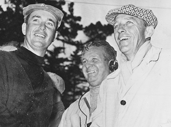 """That's me, Jimmy Demaret and Bing (Crosby) after I won the Crosby at Pebble Beach in 1960. In the final round, we got to the first tee and it was raining and blowing like you've never seen it. ... To show you what kind of day it was, I was leading by two shots going into the round. I shot 77 and won by three."""