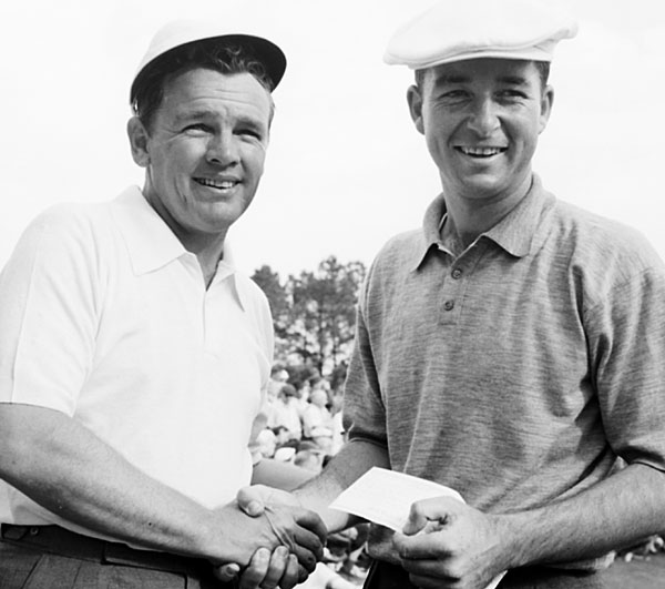 """That's me an Jackie Burke at Augusta in 1956, the year I lost the Masters as an amateur. I was leading going into Sunday and I shot 80 in the last round. Jackie was the only guy to break par that day. (Note: Sam Snead also broke par.) I don't make excuses. My father always told me that excuses are the crutches of the untalented. I hit 15 greens that day and three-putted six times. To show you what kind of day it was, I shot 80 and still finished second. I was disappointed, but there's a great Jack Whitaker line: 'Fate has a way of bending a twig and fashioning a man to his better instincts.'"""