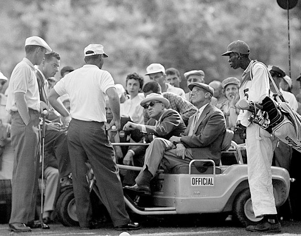 """People have said that I accused Arnold Palmer of cheating (at the 1958 Masters, Palmer's tee shot on the 12th plugged on a soggy bank behind the green; after making a 5 with his first ball, Palmer, believing he had a right to a free drop from his embedded lie, played a second ball and made a 3, a controversial score that was later upheld). But I never used that word. I just said, 'You be the judge. I'm not going to be the judge.' Everybody knows you have to declare a provisional before you hit it. In this photo, we're having a discussion about the matter on the 14th tee, with Bobby Jones and Cliff Roberts. Arnold and I never really talked about it in the years after. But as we were going to the 13th tee that day, I said to him, 'If you had chipped (the first ball) in, would you have played the provisional?' Later, everybody thought that I was arguing the point because I wanted to win. They forget that Doug Ford and Fred Hawkins finished tied for second. I was fighting for Doug and Fred. What happened on the 12th, only Palmer and I, our caddies and one rules official saw it. Now, with TV, something like that could never happen."""