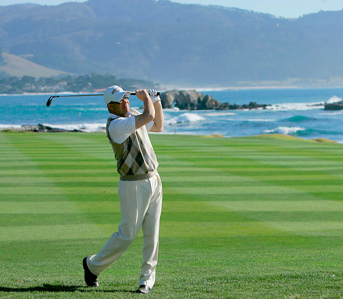 "Kevin Costner, well-know to golfers for his role in ""Tin Cup,"" hits from the eighteenth fairway during the third round of the AT&T Pebble Beach National Pro-Am in 2008."