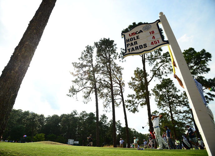 """Kevin Na hits his tee shot on the 18th hole at Pinehurst No. 2. """"Saturday is moving day,"""" Na said. """"Even the Majors they tend to set it up where you can shoot a low number. So I know the course is going to dry out a little bit, but anything in the red figures. I'm hoping 2-under. I'll take -- you give me 68 right now, I'll sit in the clubhouse."""""""