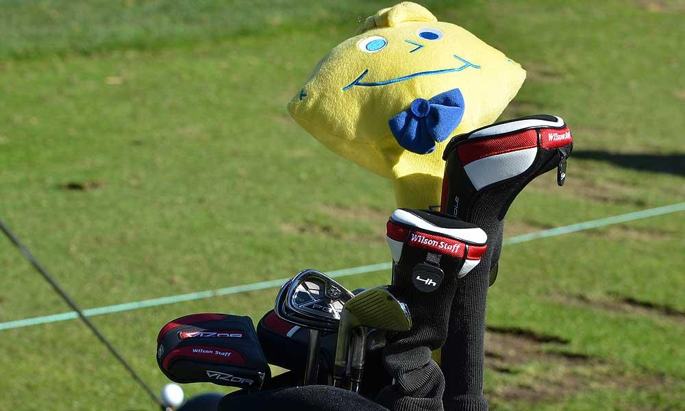 Kevin Streelman's Ping G20 driver is covered by a giant Lemonhead candy.