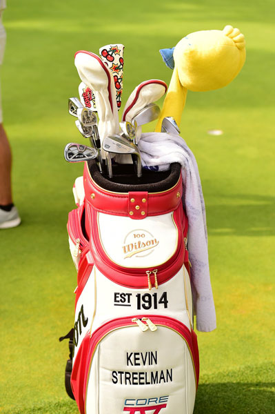 A winner earlier this year, former Blue Devil great Kevin Streelman's throwback Wilson Staff bag carries FG irons, FG Tour wedges, and what looks to be a tweety bird head cover.
