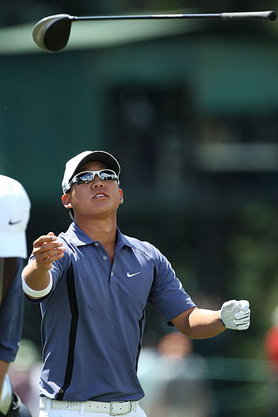 Anthony Kim was not thrilled with his tee shot on the sixth hole and was three over par through 11 holes.
