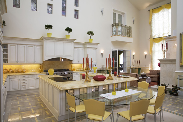 In addition to this two-story kitchen, there is also a secondary chefs kitchen.