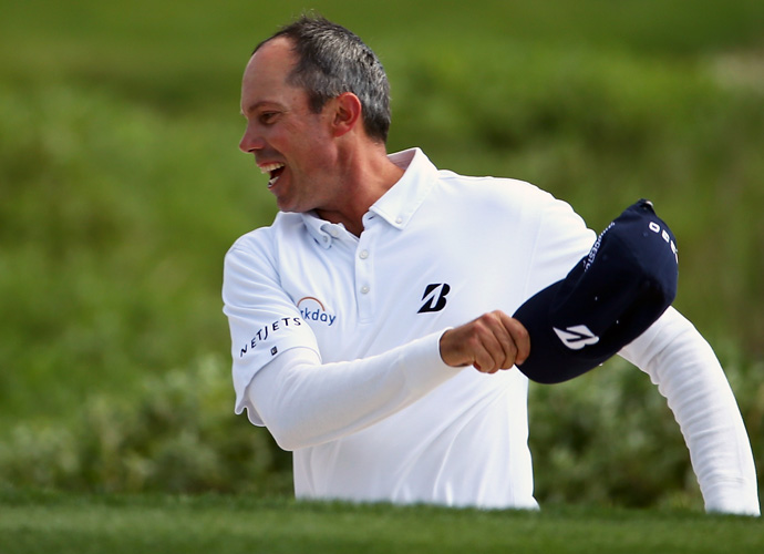 Kuchar, celebrates the chip-in that won him the tournament this year.