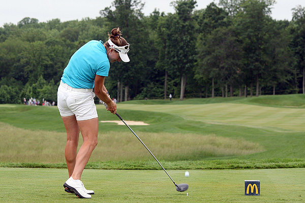 Brittany Lang made five birdies and no bogies Friday to shoot 67.