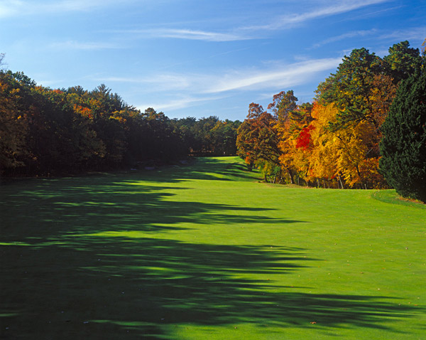 "Hole No. 5                           Pine Valley                           Pine Valley, New Jersey                           15th hole; par 5, 591 yards                                                      On a course infamous for forced carries over punishing sand features (like ""Hell's Half Acre,"" and the ""Devil's A------""), the 15th seems comparatively tame, rather like the eye of a hurricane. It's an uncomplicated tee shot over a pond, but get narrower and tougher as it climbs uphill to the green. The risk/reward balance is ingenious. Those who choose to blast away on the second will find a fairway that shrinks to no more than 20 feet wide close to the green, and which cants insidiously left to right. Laying back brings its own peril: the green has a pronounced false front, so anything less than a full-blooded approach might trundle right back down the fairway."