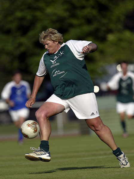 Davies is a longtime soccer fan and played in this charity match at the Evian Masters. She reportedly carried a miniature television in her bag during a victory in the 1996 Evian to keep up with England's national team.