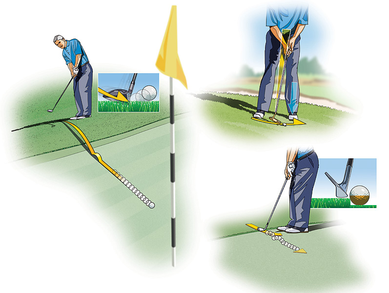 SENIOR PLAYER: Three Ways to Cash In Chips                             Most golfers choose to hit delicate chip shots around the green with just one club—usually their sand wedge—but there are a number of different options that will get the job done, depending on the lie and the situation. Here are three different ways to chip it close from short range, with all but one method employing your trusty sand wedge.                                                          1. HYBRID CHIP: When you're several feet deep into the fringe, or in a mowed area with some slope to navigate, consider chipping with a hybrid or fairway wood. Center the ball between your feet, choke down 1 or 2 inches on the handle, and hit down on the ball like you're attempting a bump-and-run shot. It's that easy.                                                          2. TOED-IN PUTTER: Sometimes chipping from the rough can be tricky, especially if you're on a downhill lie and the shot needs to be delicate. In this instance, try your putter. Address the ball with the toe of the putter instead of the face, set your weight left and lean the shaft forward, and then make your normal putting stroke. The putterhead should slide through the grass easily, popping the ball out softly.                                                          3. BELLIED WEDGE: If the ball comes to rest against a collar of tall grass, you could choose to chip with a hybrid. Another option is to play the bellied wedge: Line up the leading edge of your sand wedge with the equator of the ball, lean the shaft left and make a level, easy putting stroke. The ball should hop a few times and then begin to roll like a putt once it reaches the green.