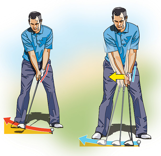 HIGH HANDICAPPER: Get a Grip on Your Takeaway                             Many golfers abruptly snatch the club away at the start of the takeaway, cupping their left wrist. This lifting action creates a number of different problems, most notably a narrowing of your swing's arc and an open clubface. To maximize your power, you need to swing the club back on a slower, wider arc, so that your left wrist remains firm and doesn't break down.                                                          To prevent this early wrist break, focus on moving the butt end of the grip away from the target for the first foot or so of your backswing. Don't worry about anything else but the grip. This move will slow your backswing tempo down and also prevent your left wrist from cupping, thus keeping the clubhead on plane and the clubface square.