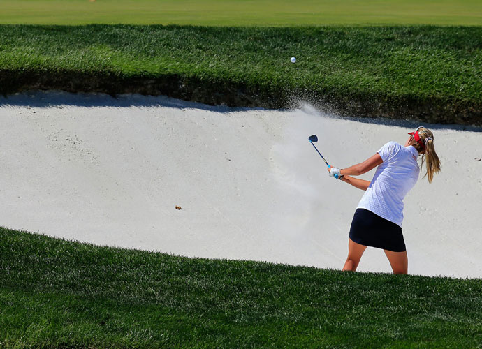 Lexi Thompson of the United States hits from the bunker to the 16th green during round two.