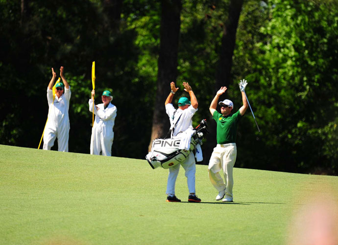Louis Oosthuizen - 2012                             In the final round, Oosthuizen hit one of the most remarkable shots in the history of the tournament and recorded the rarest of scores - a double eagle. The South African hit a 4-iron from the middle of the par-5 second fairway toward the green, 253 yards away. The shot rolled across the green from left to right and into the hole, for the longest double-eagle shot in the history of the tournament.