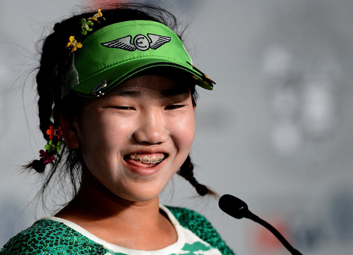 Lucy Li answers questions during her press conference at Pinehurst No. 2. She'll play the U.S. Women's Open this week after qualifying with scores of 74-68 at Half Moon Bay, Calif.