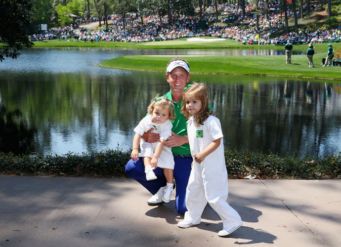 Luke Donald poses with his daughters Elle and Sophia Ann.