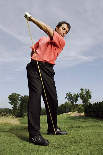 How to Max Out Your Drives                           By Mitchell Spearman, GOLF Magazine Top 100 Teacher                           September 2006                                                      Add torque                                                      THE GOAL You need to create torque in your backswing to produce leverage and power in your downswing, and to create torque you need resistance.                                                      THE DRILL Place one end of a 5-foot bungee cord under your left foot at address. Take the other end of the cord in your left hand (make sure there's some slack in it) and swing your left arm up to the top. The tension you feel is the same feeling of resistance you should create when you swing.