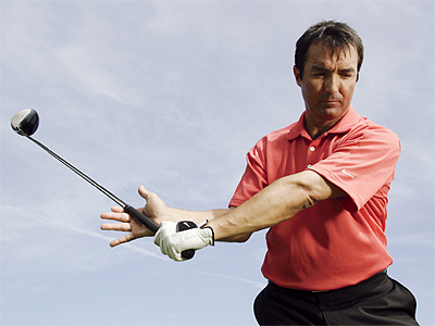 Create width                                                      THE GOAL A wide swing arc creates more power than a narrow one. Good players ensure a larger arc by maintaining their right-arm width — not by swinging with a stiff left arm.                                                      THE DRILL As you take the club back, open your right hand but maintain pressure on the grip with the bottom of your hand. This simple drill will give you the feeling of righthand pressure that will help provide the wide swing arc you're looking for.