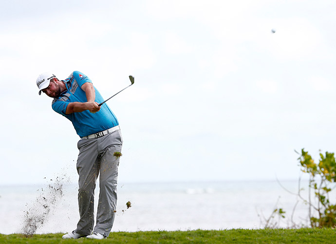 Australian Marc Leishman is one back at nine under.
