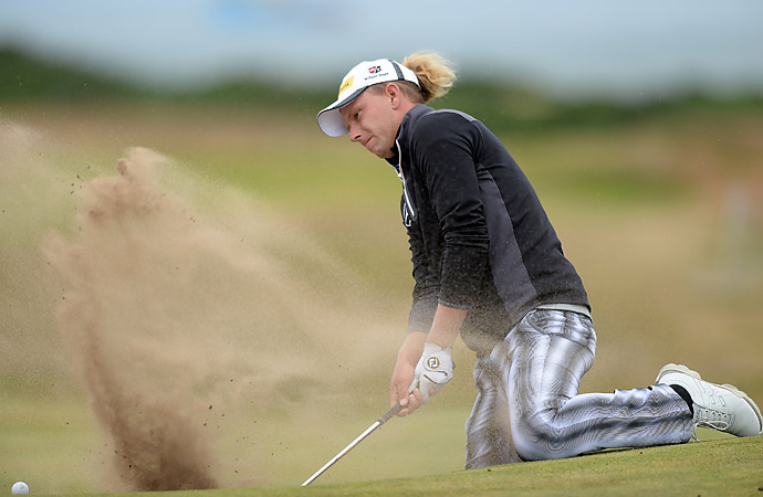 Marcel Siem found trouble in one of Royal Aberdeen's pot bunkers.