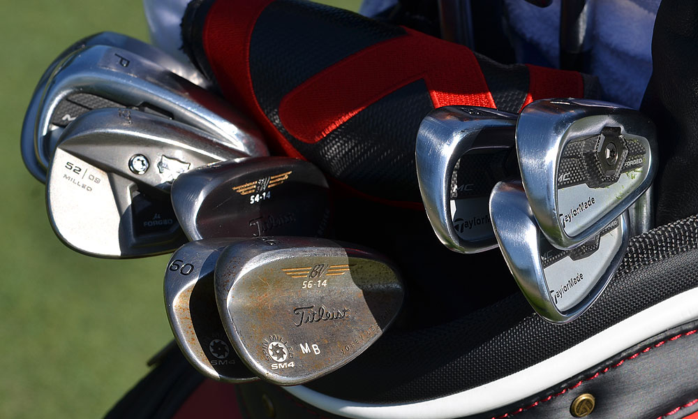 Matt Bettencourt uses TaylorMade Forged Tour Preferred MC irons. He had several wedges in his bag on Monday morning, including a TP w/xFT gap wedge and several Vokey Design SM4 wedges.