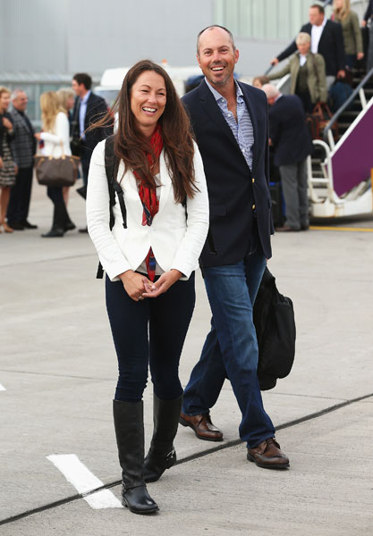 Matt Kuchar and wife Sybi arrive at Edinburgh Airport. Kuchar's playing his third Ryder Cup.