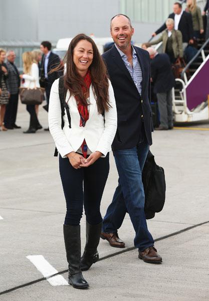 Matt Kuchar and wife Sybi arrive at Edinburgh Airport. Kuchar's playing his third Ryder Cup.
