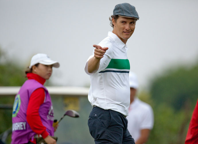 Matthew McConaughey plays in the Mission Hills Star Trophy in China in 2010. The Oscar winner played high school golf in Texas and has said he plays to a high single-digit handicap.