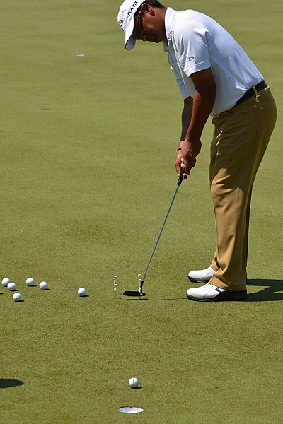 Michael Campbell who won the 2005 U.S. Open at Pinehurst, spent time Monday on the practice green, swinging his Odyssey Black Series Tour Design putter through a gate of tees and forcing himself to make the perfect stroke.