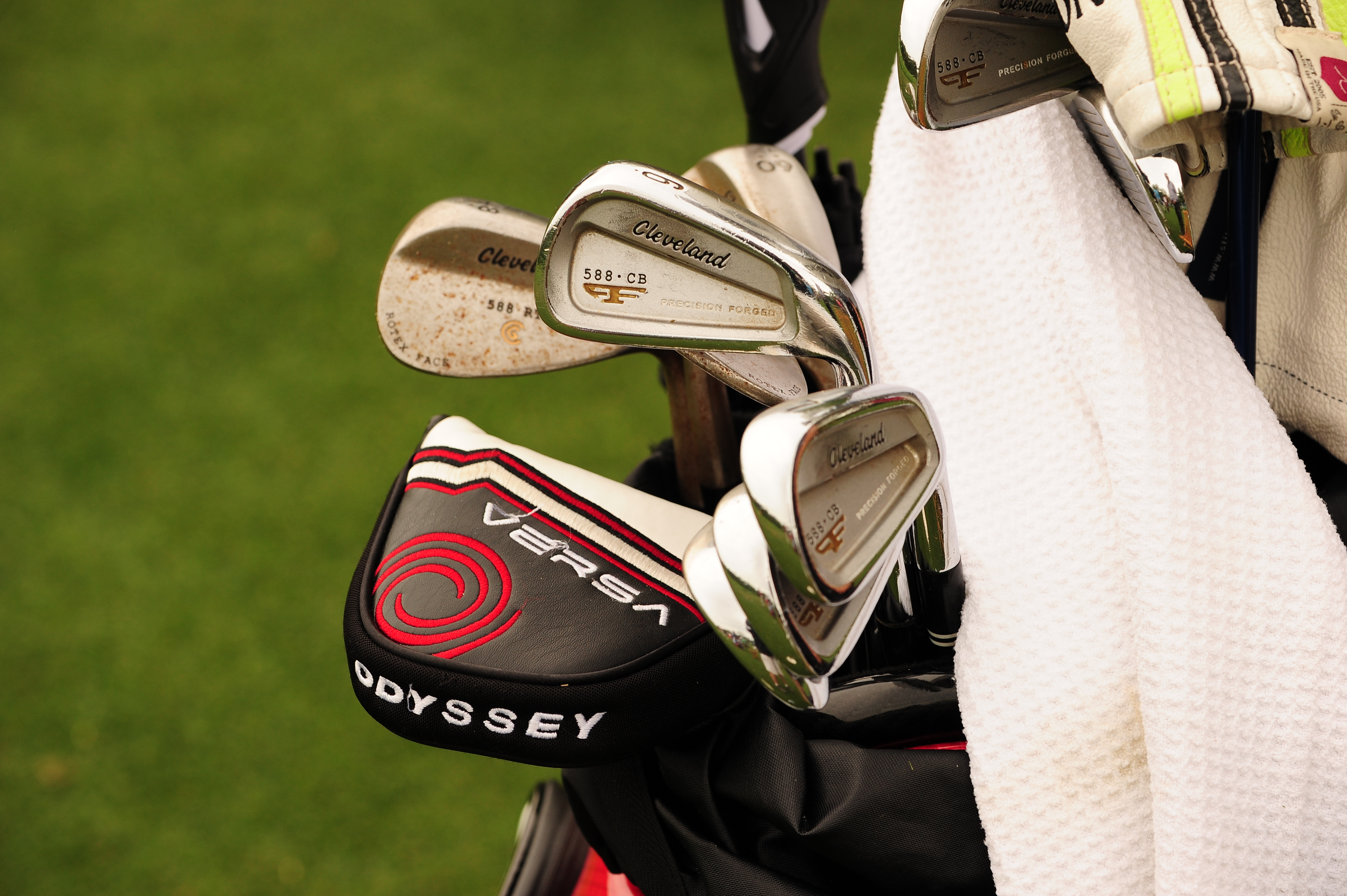 Cleveland player Michael Putnam plays 588 CB forged irons, 588 RTX wedges and an Odyssey Versa putter.