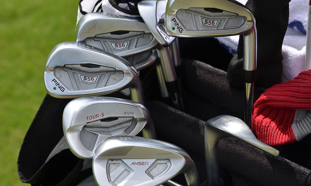 Michael Thompson has Ping S56 irons, a Tour-S pitching wedge and Forged Anser gap and sand wedges.