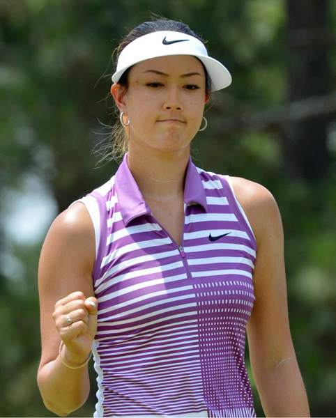 Michelle Wie shot a 2-over 72 on Saturday to maintain a share of the 54-hole lead at the U.S. Women's Open at Pinehurst.