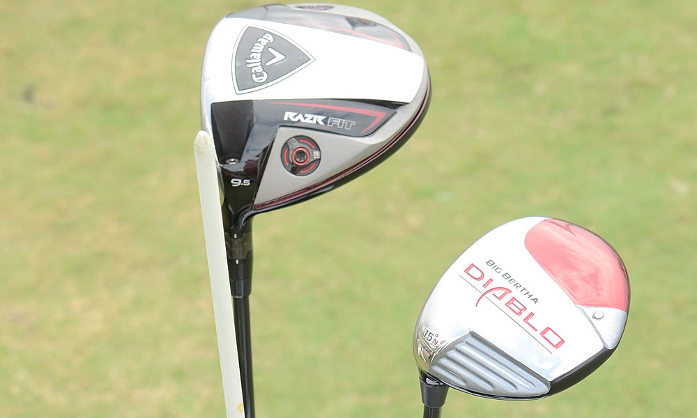Mickelson's driver is a Callaway RAZR Fit (9.5°) with a Mitsubishi 'ahina 70 shaft. Typically he carries only one fairway wood, a Callaway Big Bertha Diablo (15°) with a Mitsubishi Fubuki 73X shaft. On the occasions when he carries a second fairway wood, it's a RAZR Fit (19°) with Mitsubishi Fubuki 60X  shaft.