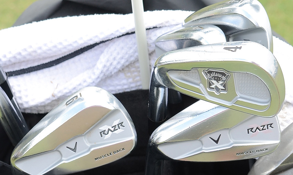 Phil's longest iron is often a Callaway X-Forged 4-iron. The rest of his irons (5-PW) are RAZR X Forged Musclebacks. Mickelson recently switched to KBS Tour shafts.