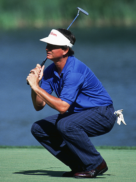 Unforgettable, that face: sullen, limp, lifeless, defeated. This was the visage of Mike Donald on the 18th green at Medinah in the playoff against Hale Irwin at the 1990 U.S. Open. It was the last hole of the playoff, and Donald had barely missed a 15-footer for par that would've clinched the Open. So close, yet so far. After he and Irwin bogied 18, Irwin birdied the first hole of sudden death to win. Donald, 52. never recovered. He was off the Tour a few years later, and to this day he is still trying, without much success, to recapture the golden touch that brought him so close to golfing glory.