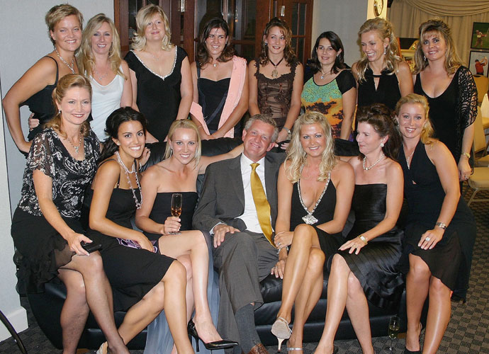 Monty has always been at his best during the Ryder Cup, where his career record is a sparkling 20-9-7. Here, a relaxed Montgomerie spends some with the European Team's wives and girlfriends during the 2004 Ryder Cup.