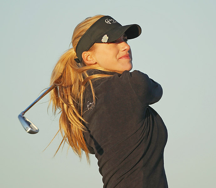 Belen hits her tee shot on the second hole during the first round of the RR Donnelley LPGA Founders Cup at the JW Marriott Desert Ridge Resort & Spa  on March 15, 2012 in Phoenix, Arizona.