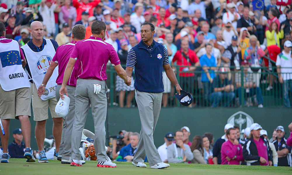 Tiger Woods made five birdies on the back nine Saturday afternoon, but Sergio Garcia and Luke Donald held on to beat Woods and Steve Stricker, 1 up. The Americans take a 10-6 lead into Sunday, but the Europeans still have a glimmer of hope after two dramatic, late wins in Saturday's four-ball session.