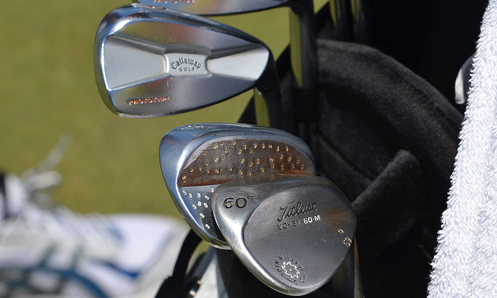 Nicholas Colsaerts plays RAZR X Muscleback irons and has lots of stampwork on his Titleist Vokey Design Spin Milled sand wedge.