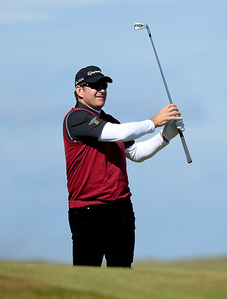 CBS golf analyst Nick Faldo had a 73 on day one.