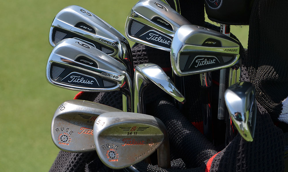 "Nick Watney has ""Rube"" stamped on his Titleist Vokey Design SM4 wedges. He also plays Titleist 712 AP2 irons."