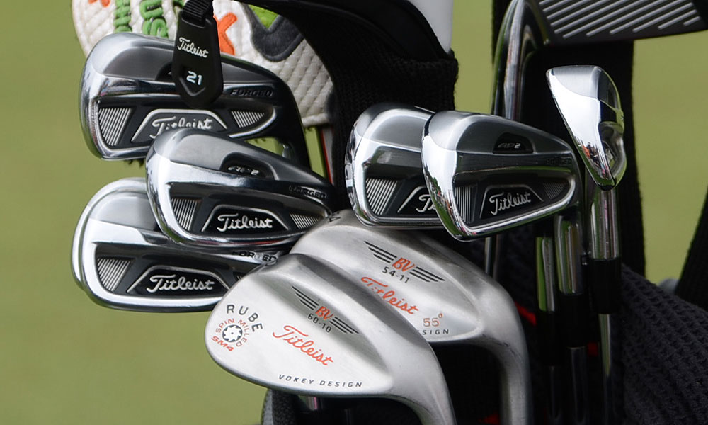 "Nick Watney plays Titleist 712 AP2 irons, and his Vokey Design SM4 wedges are stamped with his nickname, ""Rube."""