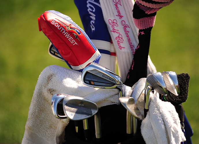 Nicholas Thompson's fairway wood sports a Southwest Airlines head cover to go along with his TaylorMade RocketBladez irons.