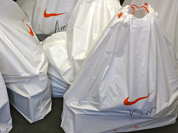Nike player gift bags were being filled on Monday morning inside the company's tour truck. They were filled with golf balls, gloves, hats and other necessities.