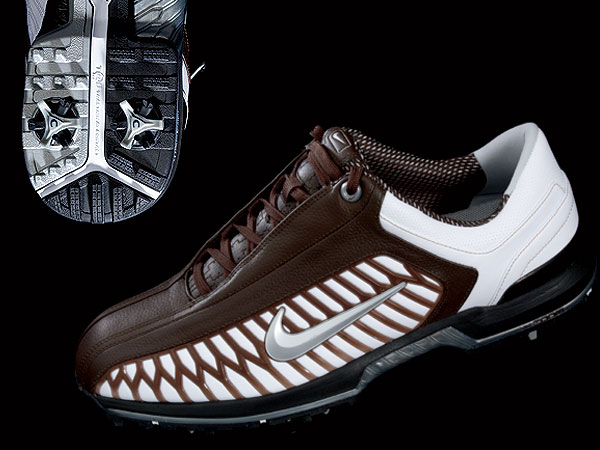 "Nike Zoom Elite II                           $129, nikegolf.com                           The webbing along the side (brown                           lines) is fashion-forward and functional.                           The TPU (thermoplastic polyurethane)                           frame provides lateral support so your                           feet stay in place, while the ""Zoom Air""                           unit provides extra shock absorption                           in the heel. The flexible channel (white)                           on the sole is supposed to help                           feet remain grounded longer.                                                      More Equipment News:                           • Drivers released in 2008                           • Irons released in 2008                           • The Shop Equipment Blog"