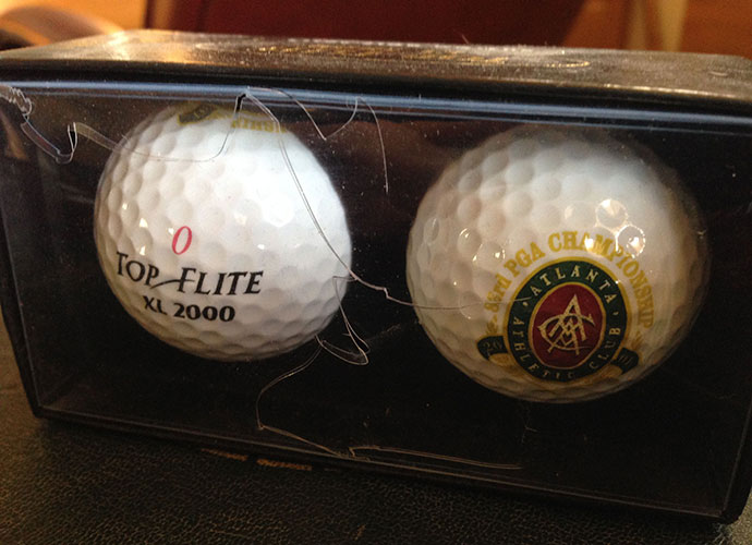 A two-ball pack from the 2001 PGA Championship at Atlanta Athletic Club, purchased out of guilt. I played hooky on Saturday, going 36 holes at Grand National on Alabama's RTJ Trail, and I arrived back on the grounds just in time for a huge roar. It was leader David Toms making an ace on the 15th. Sorry I missed it.