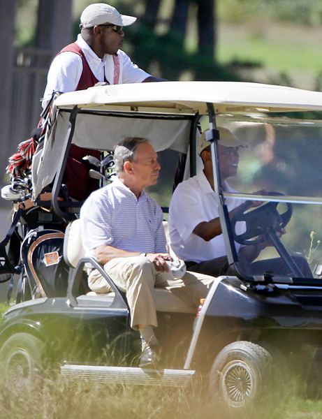 President Obama caught up with New York City Mayor Michael Bloomberg on vacation at the Vineyard Club in Martha's Vineyard in the summer of 2010.