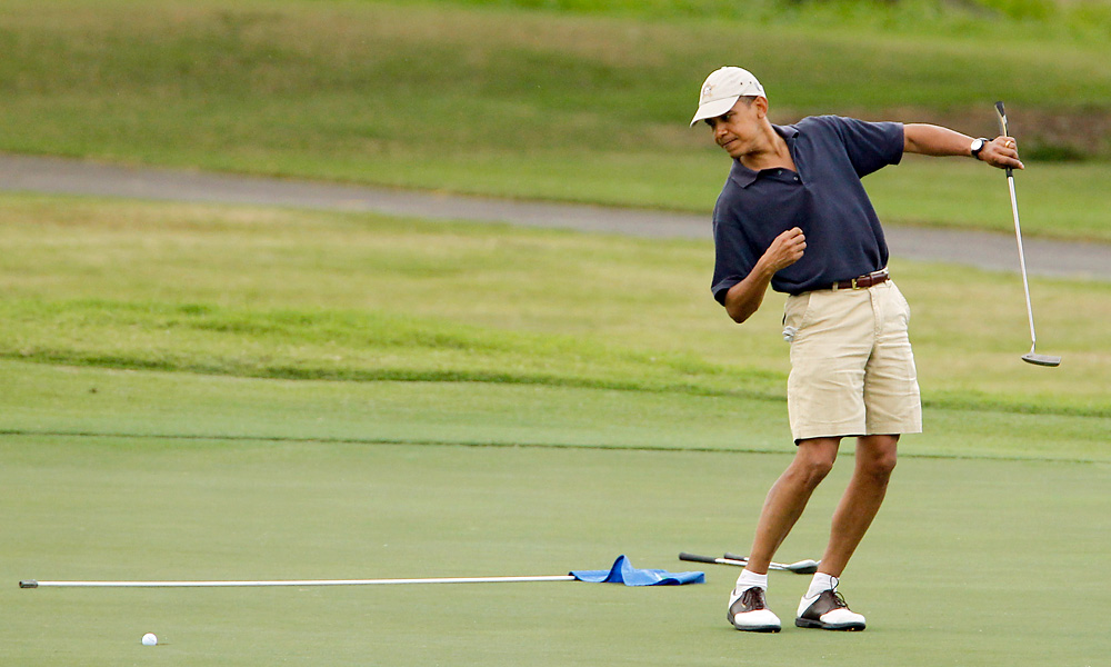 The Obamas often spend Christmas vacation in Hawaii where the president frequently hits the links.